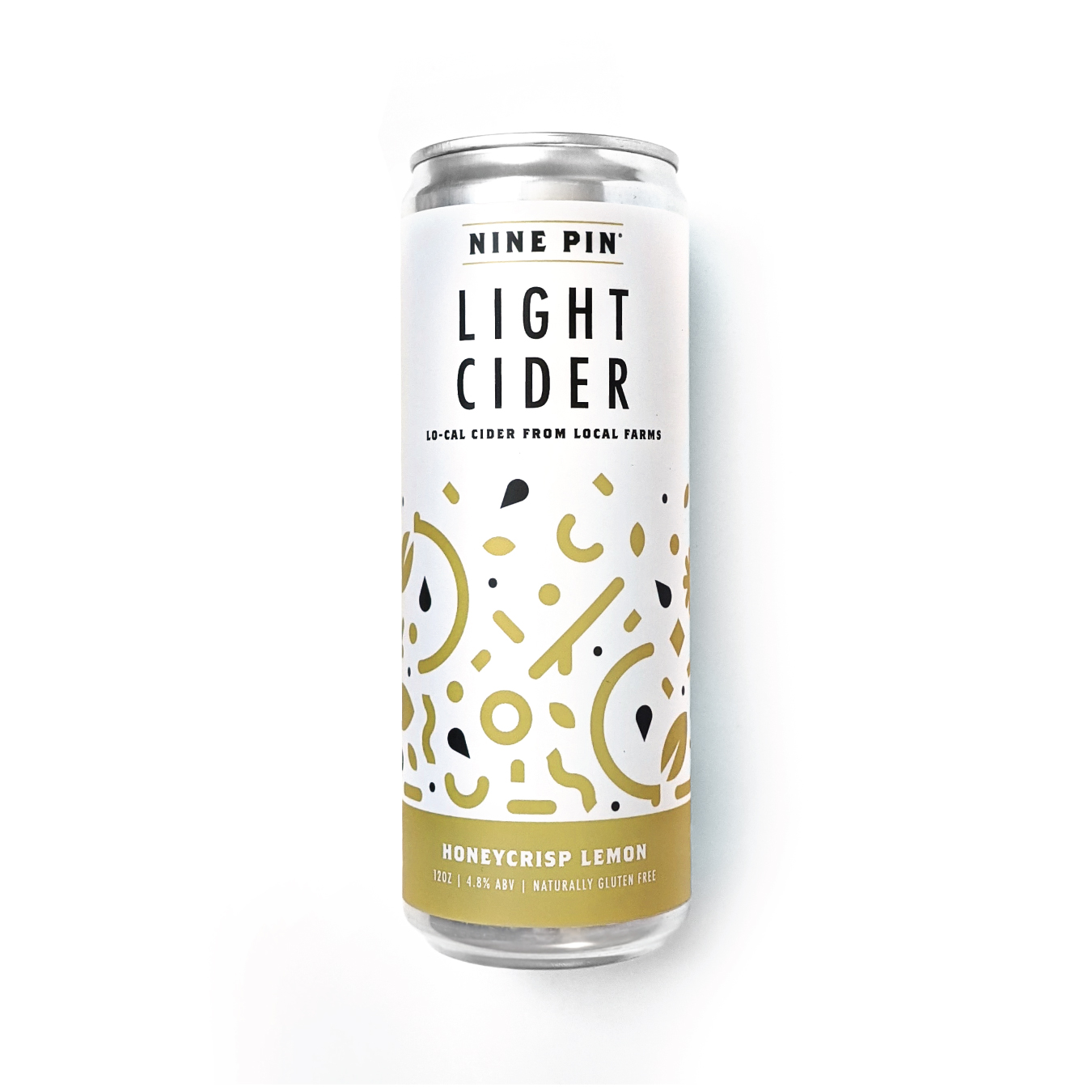 Yellow and white sprinkled pattern can that reads Nine Pin Light Cider