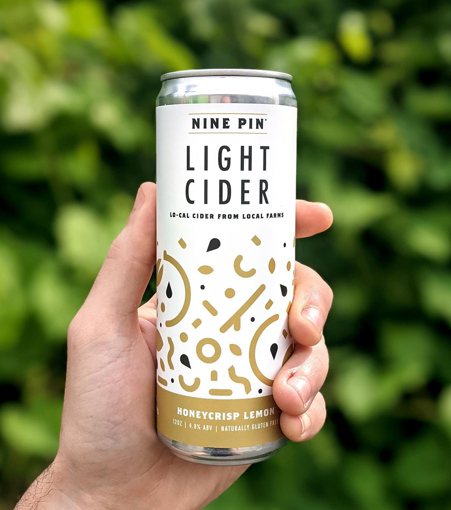 Yellow and white sprinkled pattern can that reads Nine Pin Light Cider held by hand. Green leaves in background