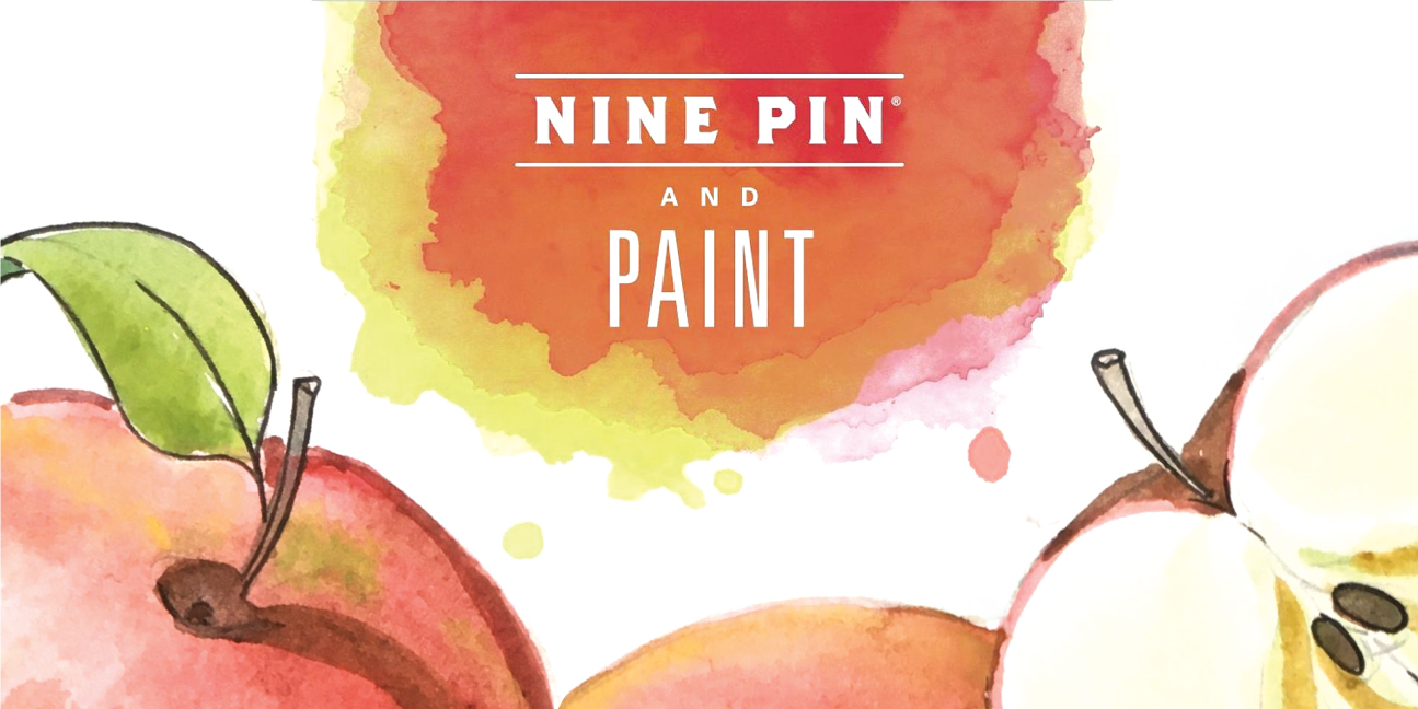 Water color patter of apples. Text reads Nine Pin and Paint