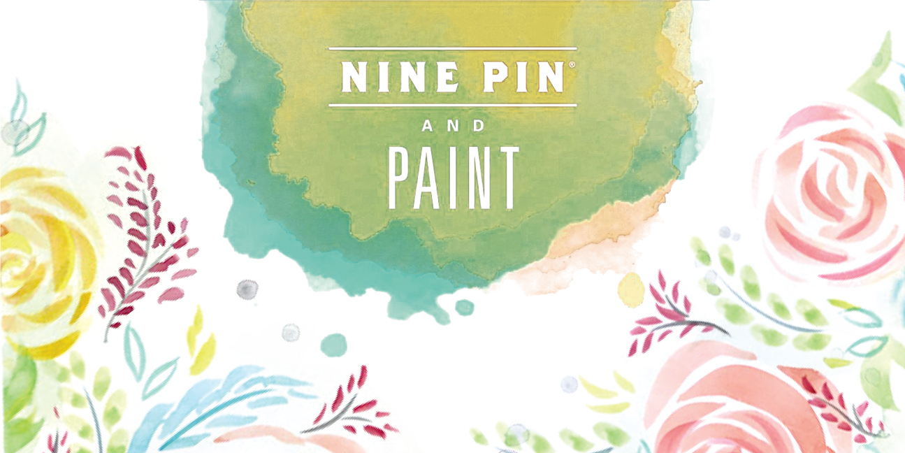 Water color patter of Flowers and Monograms. Text reads Nine Pin and Paint