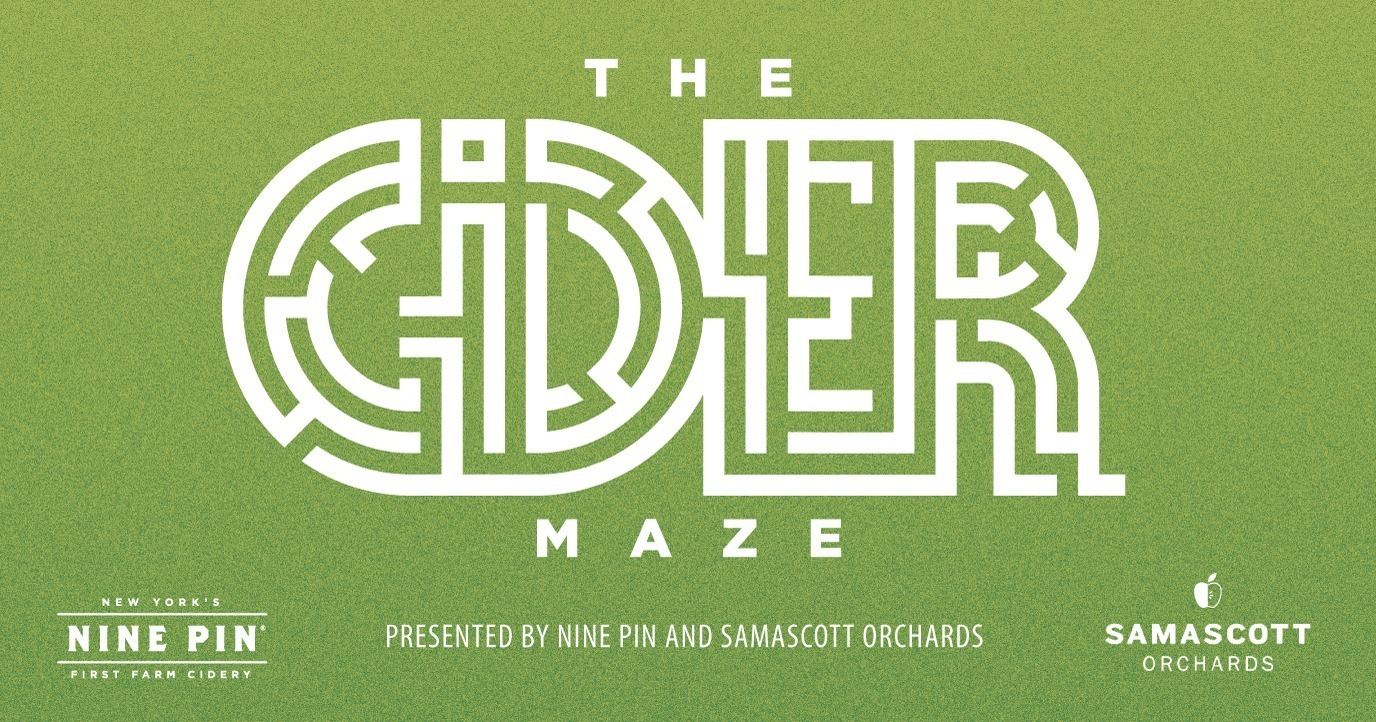 Green image that reads The Cider Maze presented by Nine Pin Cider and Samascott Orchards.