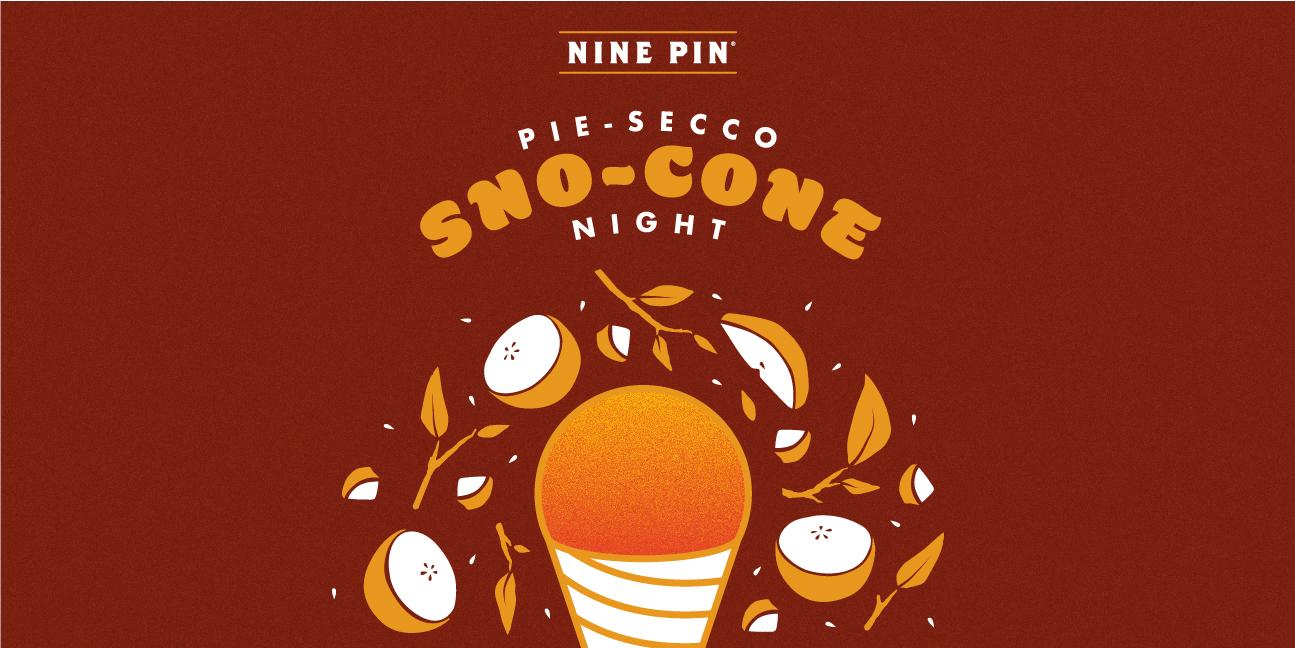 Red and orange image of a sno-cone that reads Peach Tea Sno Cone Event.