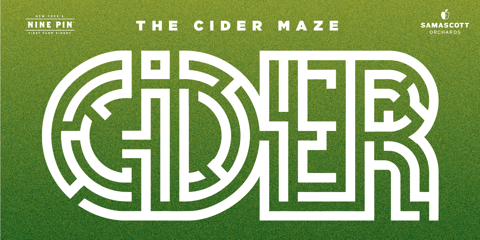 Green image that reads The Cider Maze Nine Pin Cider