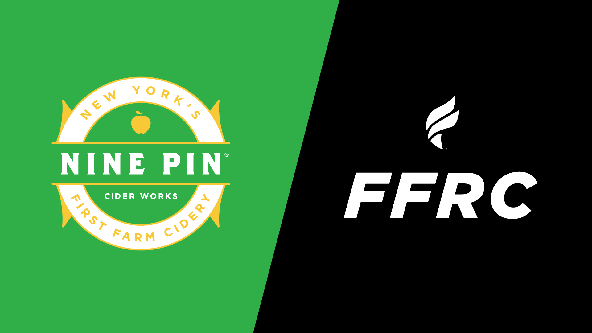 Green and black image with Nine Pin Cider crest logo and FFRC