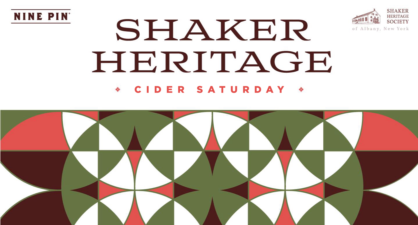 Mosaic pattern and text reads Shaker heritage Cider Saturday.