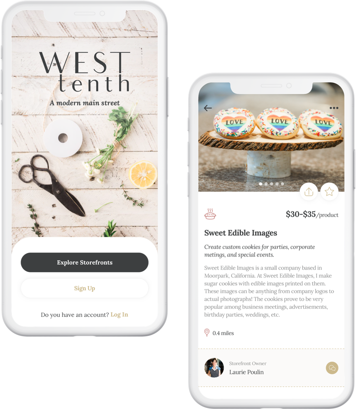 West Tenth App mockups: Browse Storefronts, Set Up Shop, Request a Service