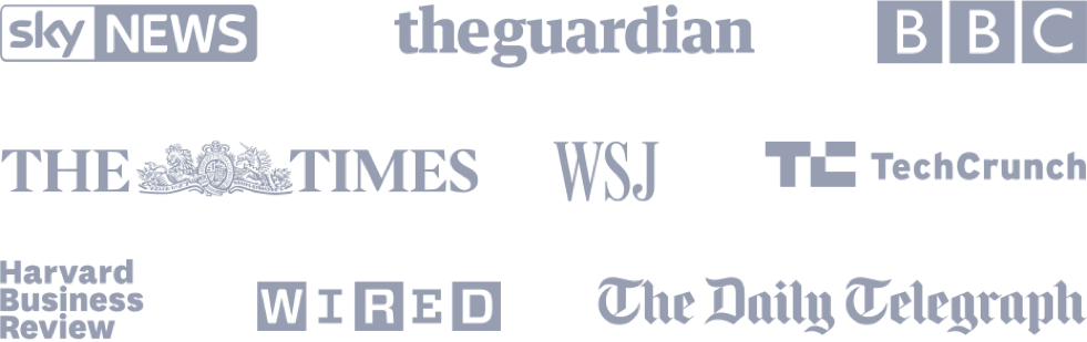 Press logos. Sky News, The Guardian, BBC, The Times, WSJ, TechCrunch, Harvard Business Review. WIRED, The Telegraph