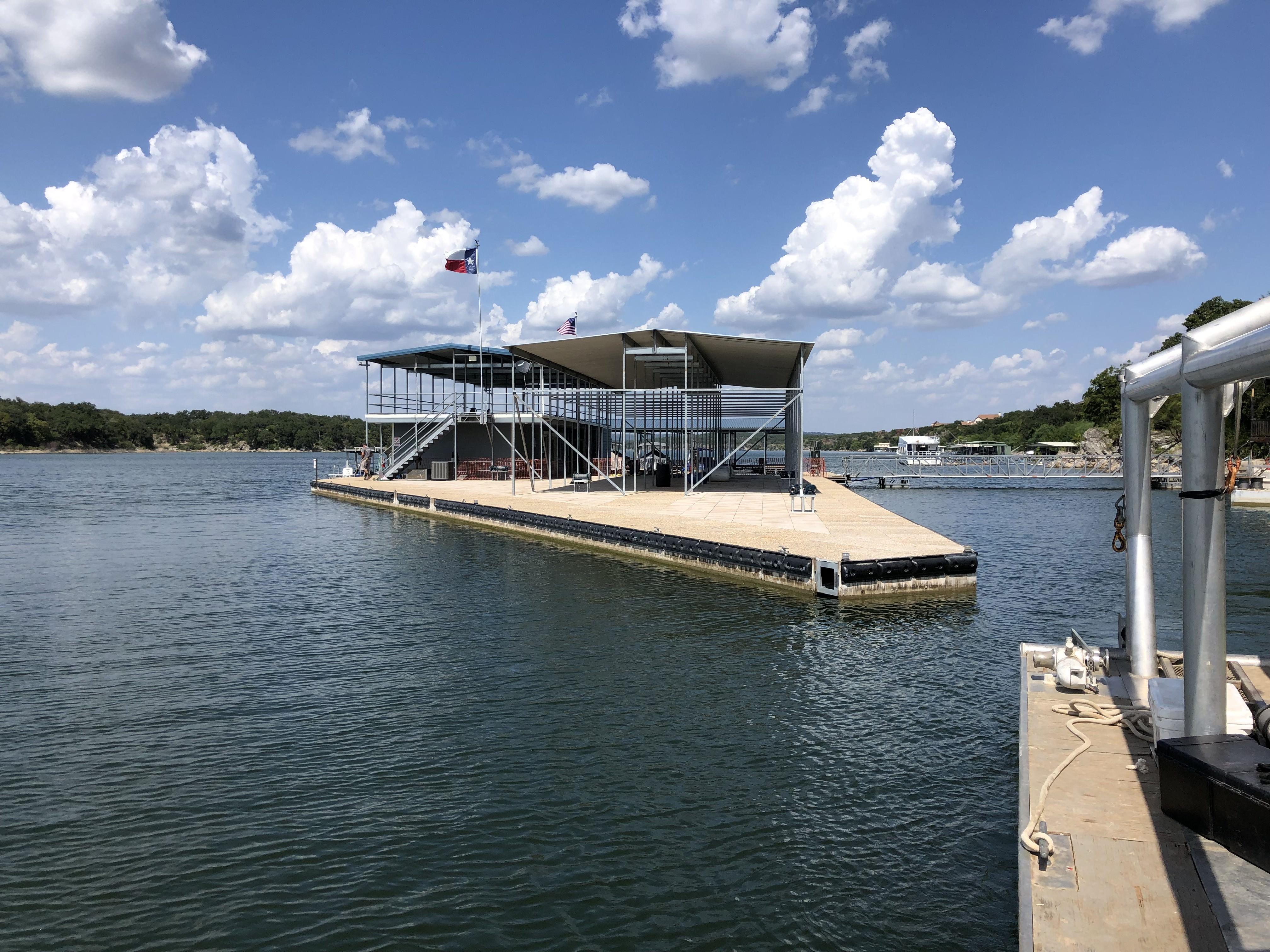 Custom dock on lake