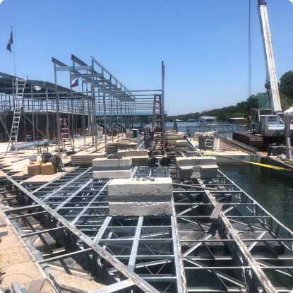 Scaffolding and framework of custom marina