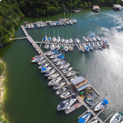 Aeriel photo of a custom marina
