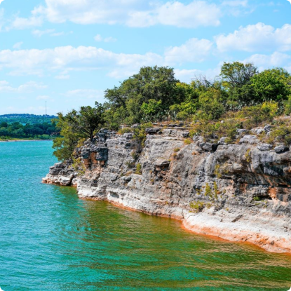 Low cliffs on Lake Travis