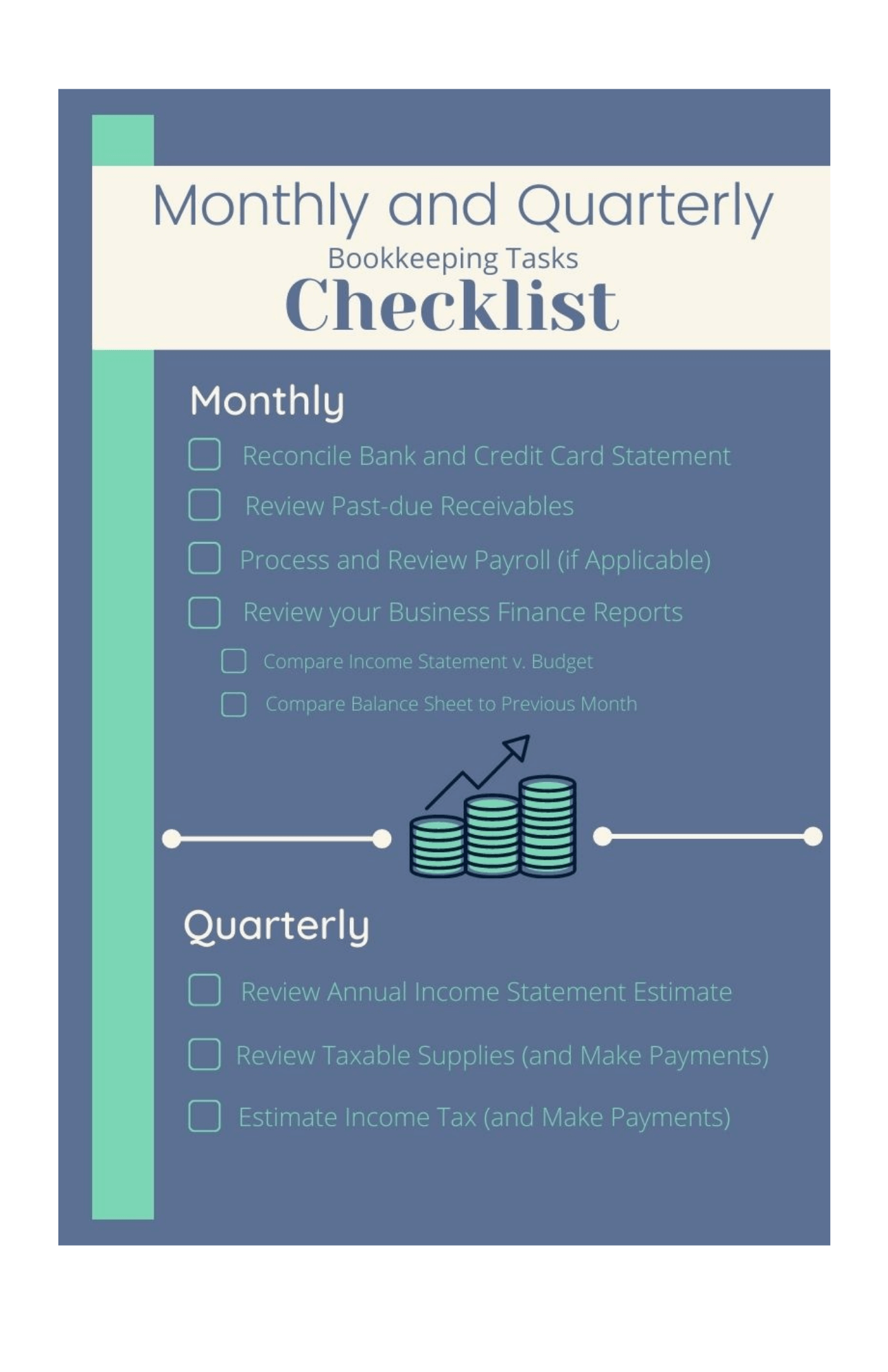 Monthly and Quarterly Bookkeeping Tasks Checklist