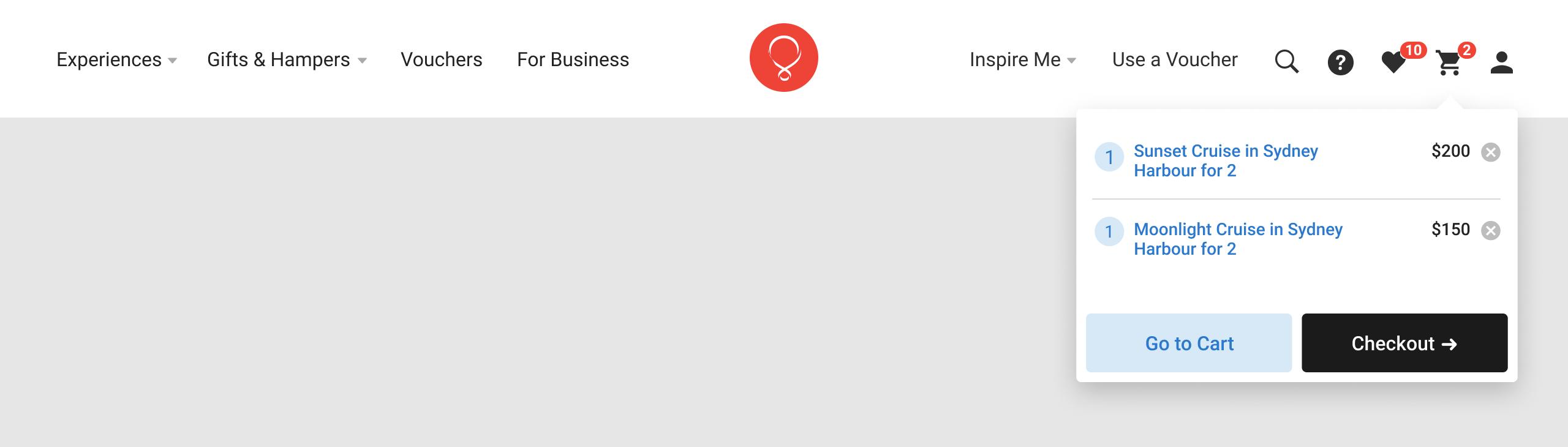 RedBalloon website navigation