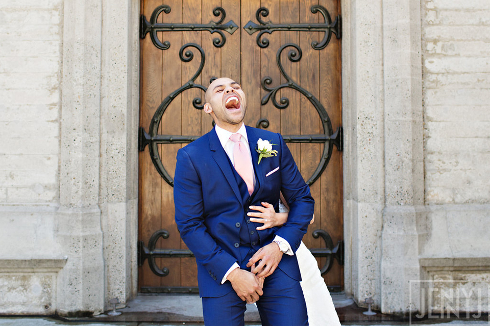 Groom laughing out loud