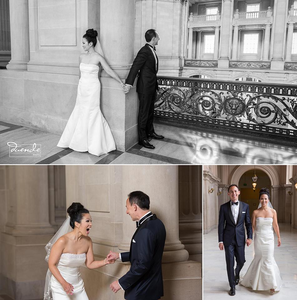 Bride and groom first look at at San Francisco City Hall