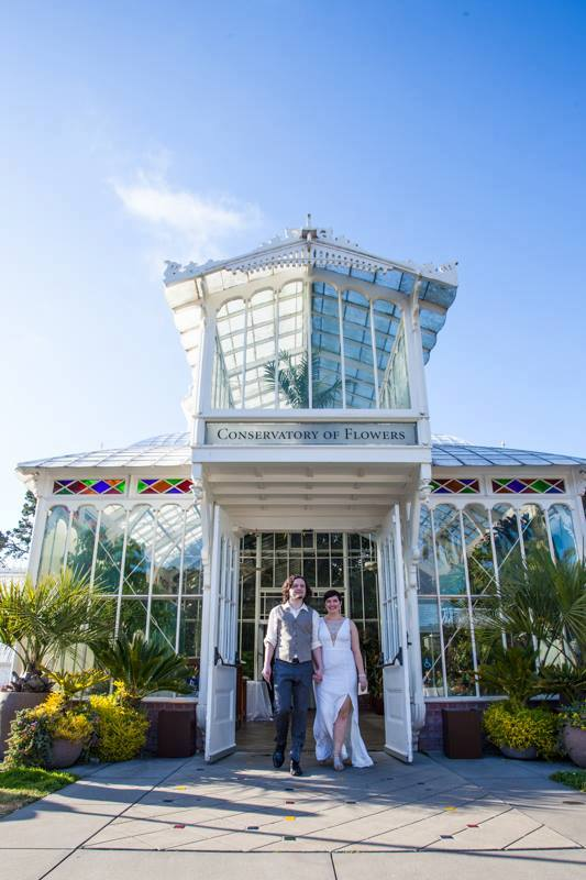 Bride and groom at the Conservatory of Flowers in San Francisco