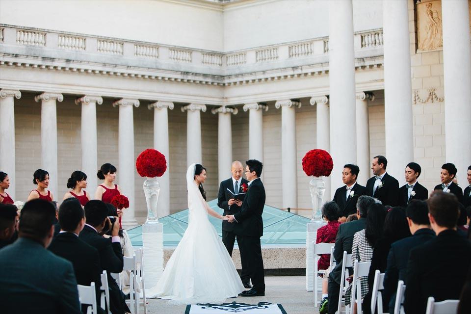 Wedding ceremony at Legion at Honor in San Francisco