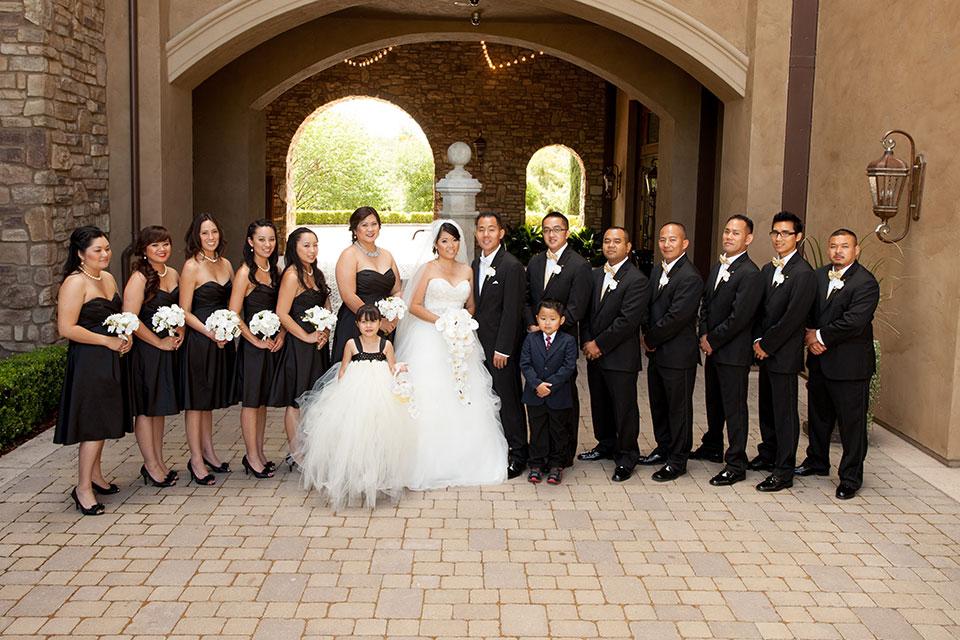 Black and white wedding entourage
