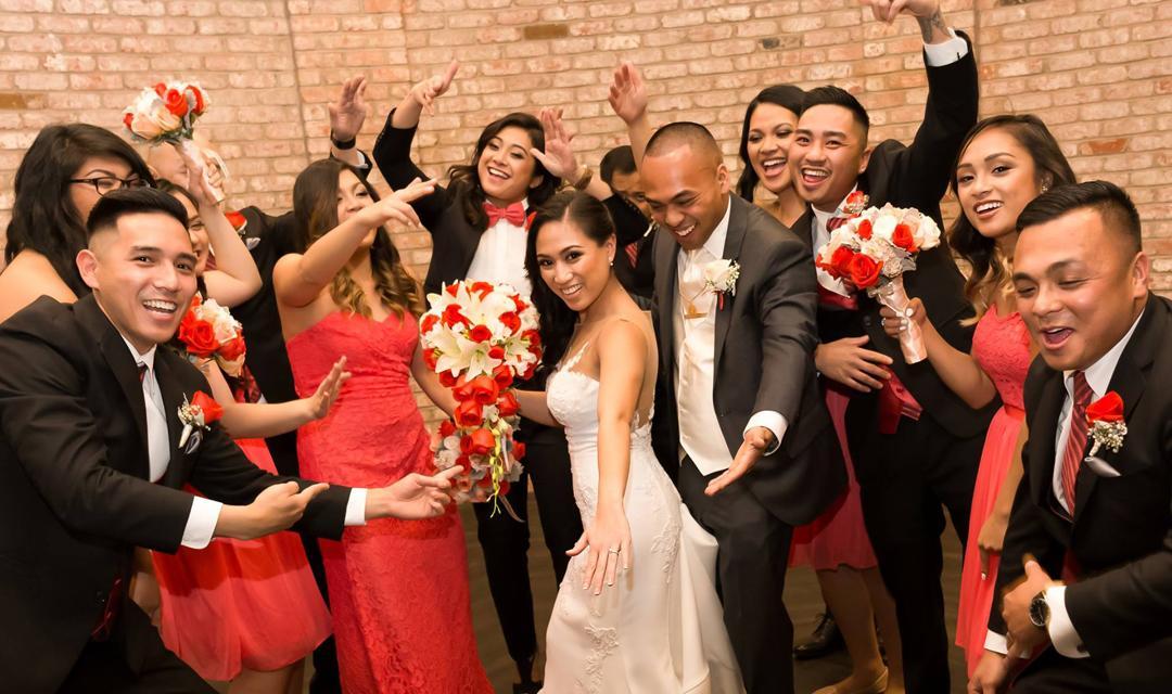 Bride, groom, and entourage