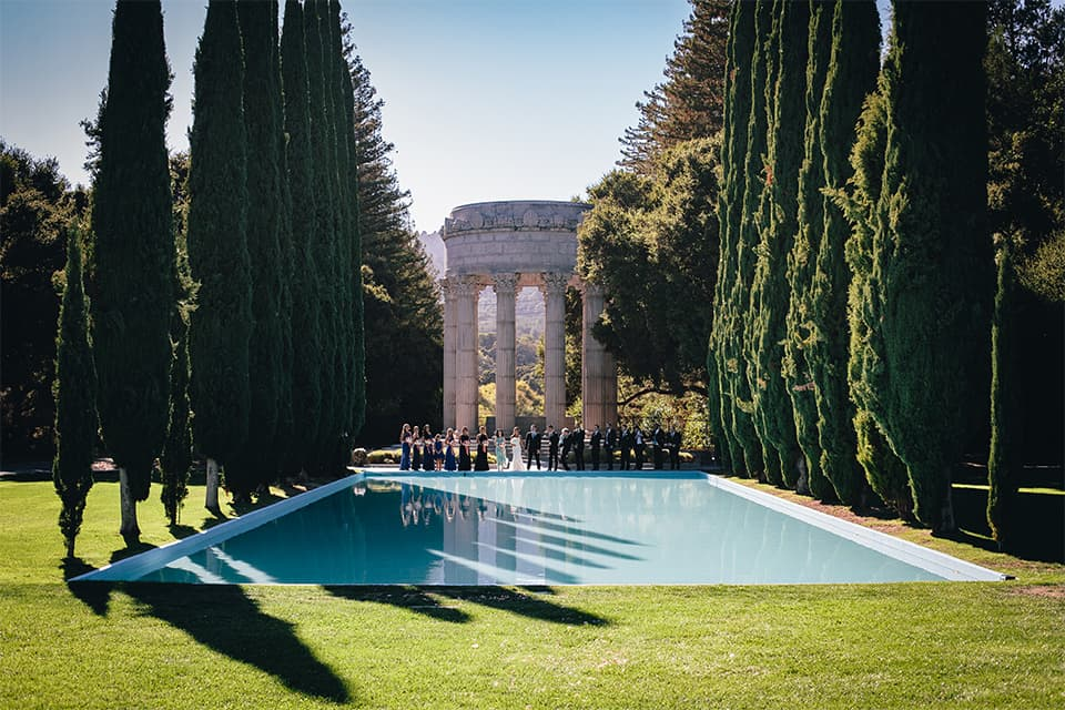 Wedding party at Pulgas Water Temple in San Mateo, CA