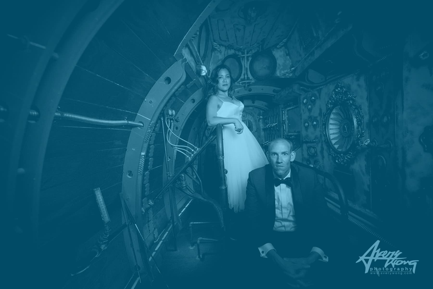 Bride and groom in steampunk room