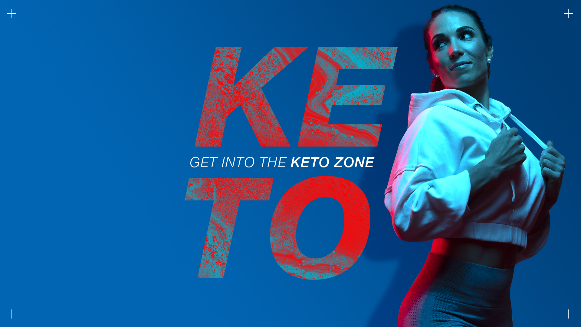 Gel lighting photography of a female athlete for NPL's Keto Zone