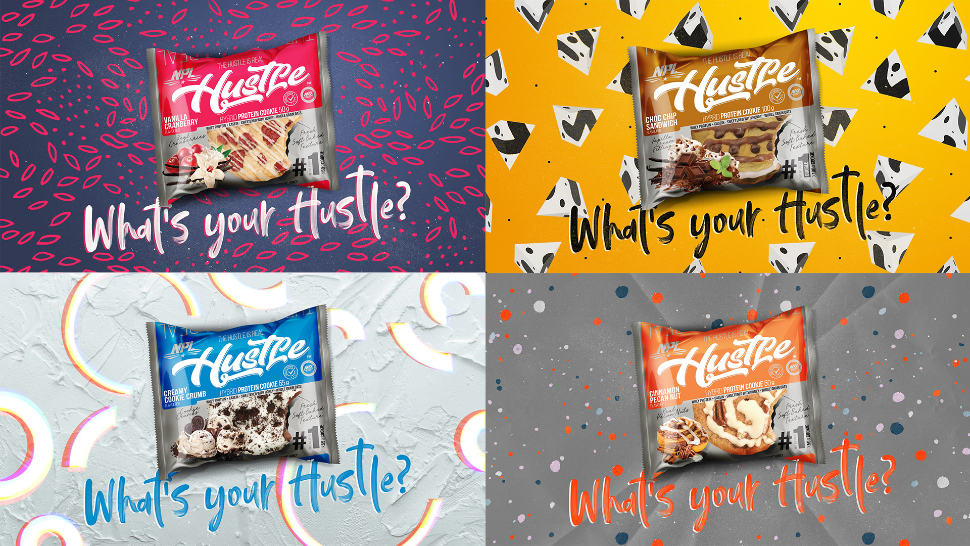 Hustle protein cookies package design