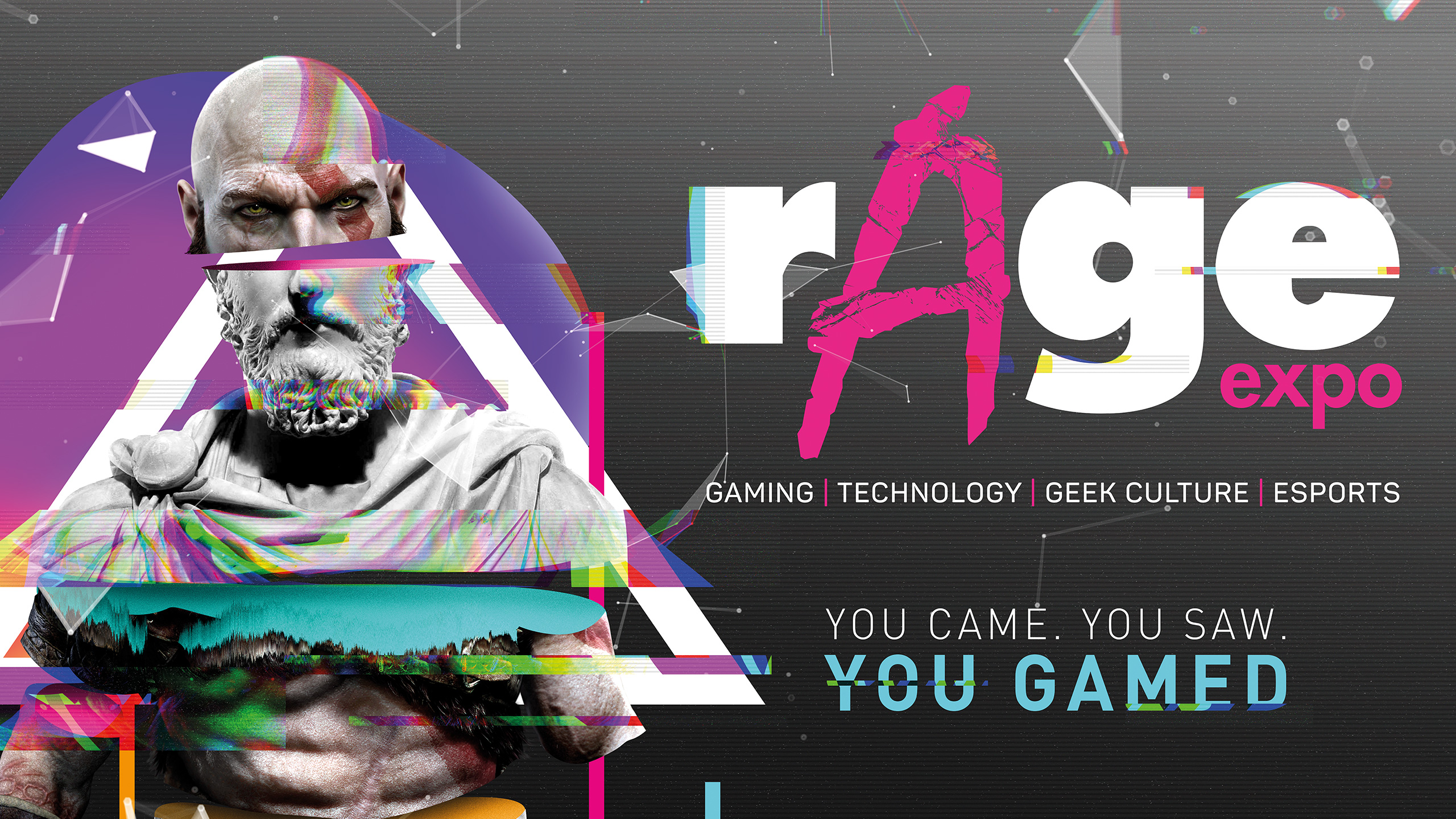 rAge Expo design with glitch effect