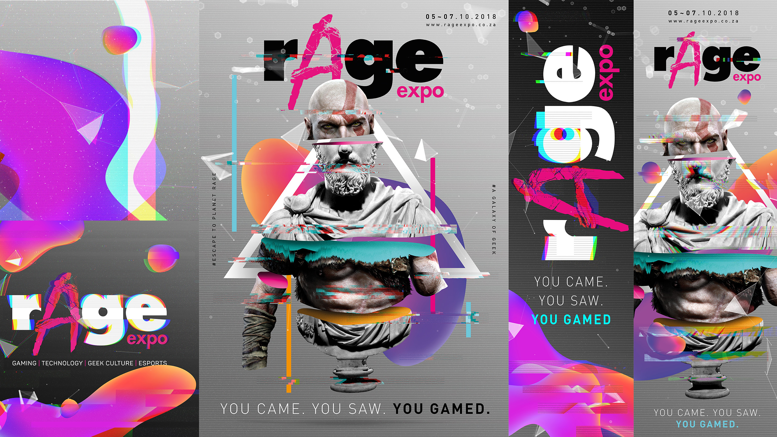 rAge Expo outdoor designs with glitch effect