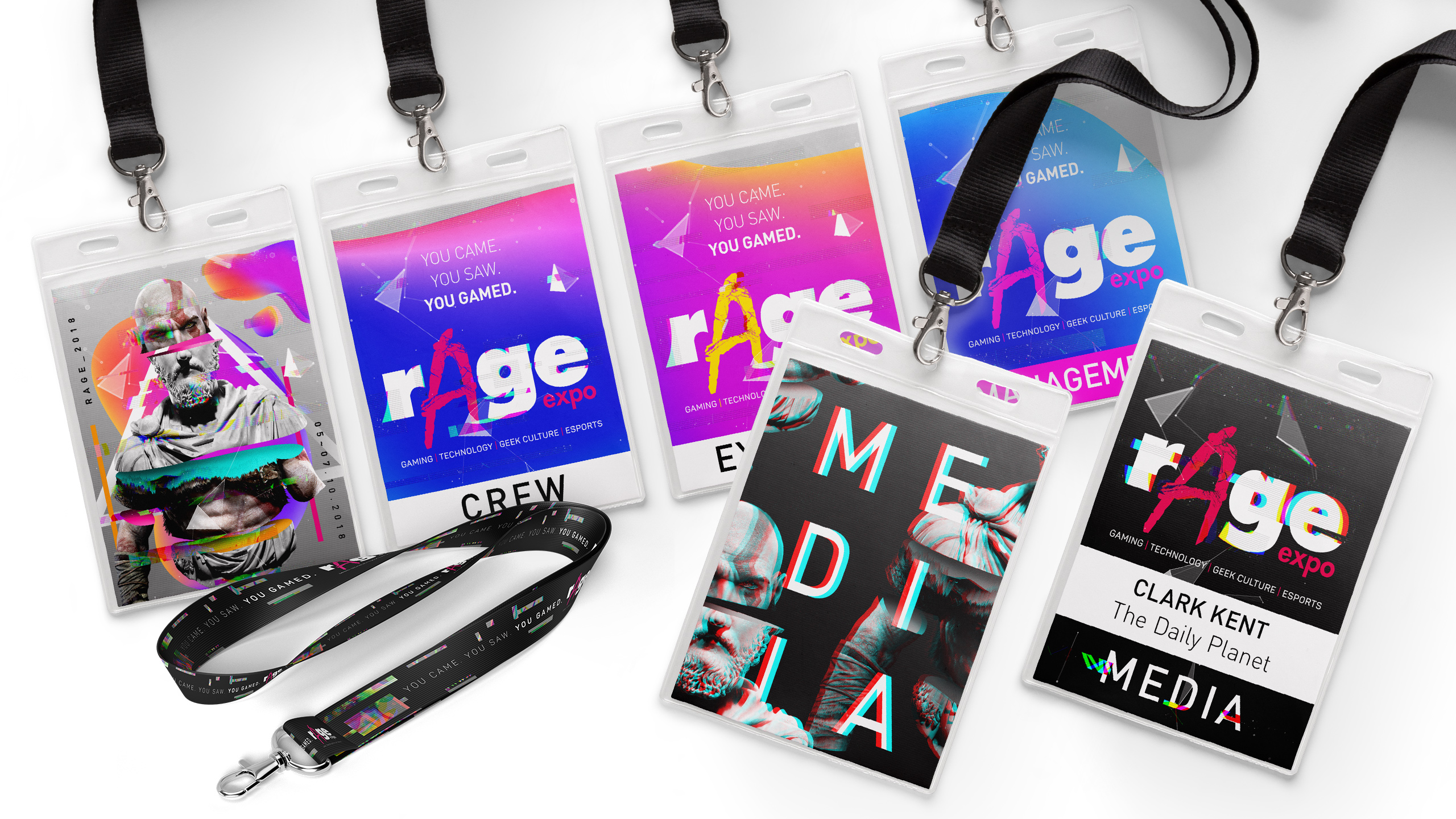 rAge Expo badge designs
