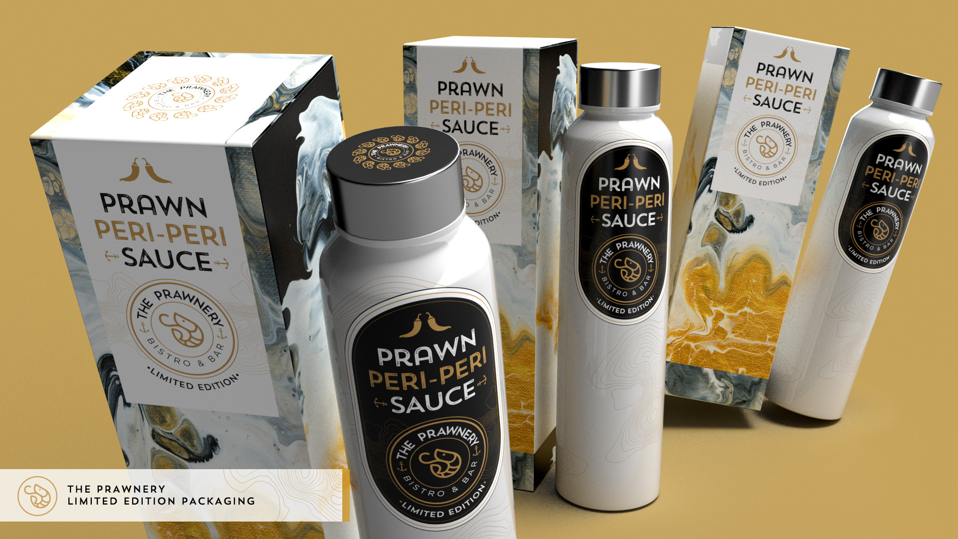 Limited edition peri-peri bottles with custom packaging for the Prawnery