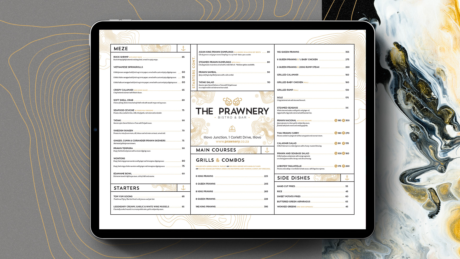 Menu design on an iPad