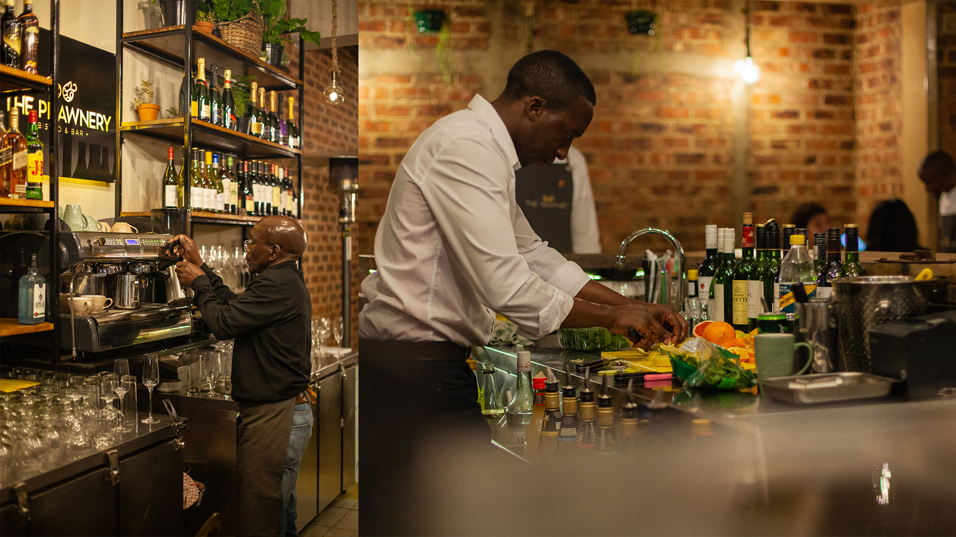 Barmen prepare drinks at The Prawnery restaurant and bistro.