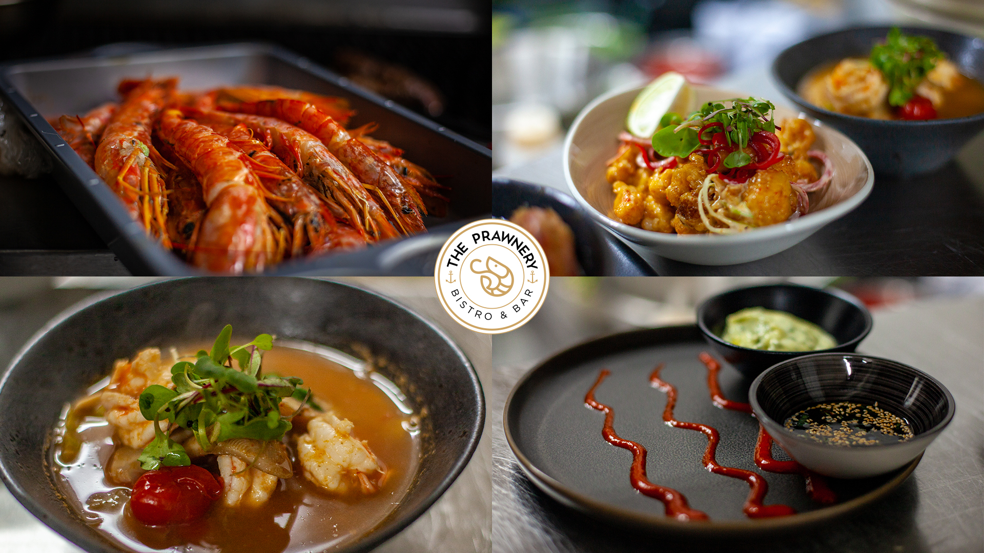 A selection of delicious prawn dishes available at The Prawnery.