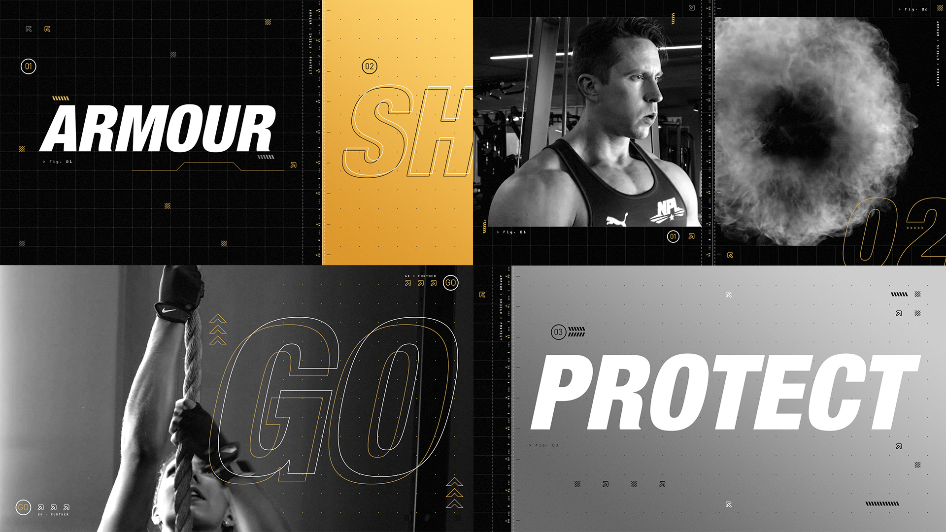 Style frames for NPL's Muscle Armour launch promo