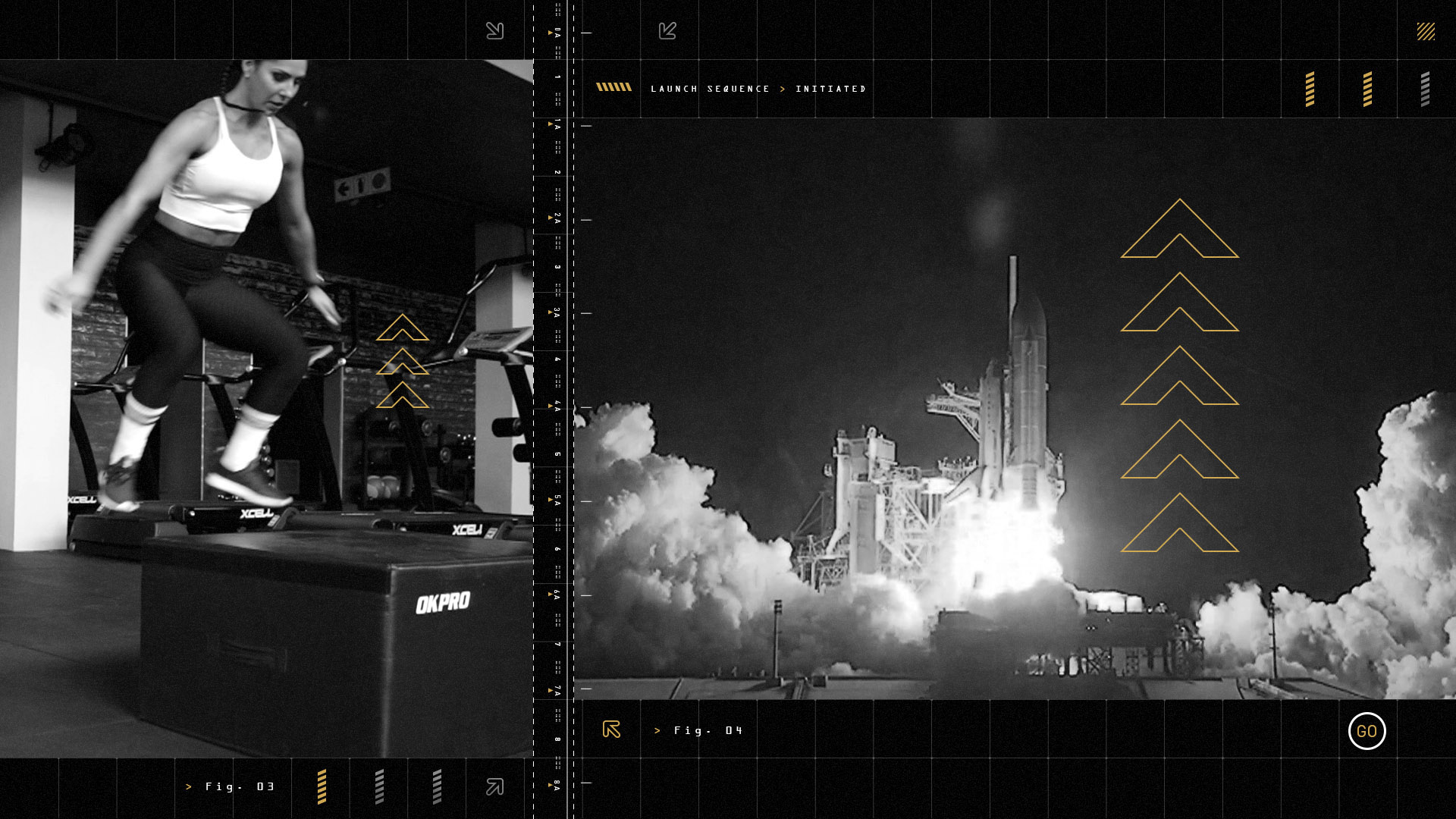 Split screen of a female fitness athlete jumping and a rocket launching next to her.