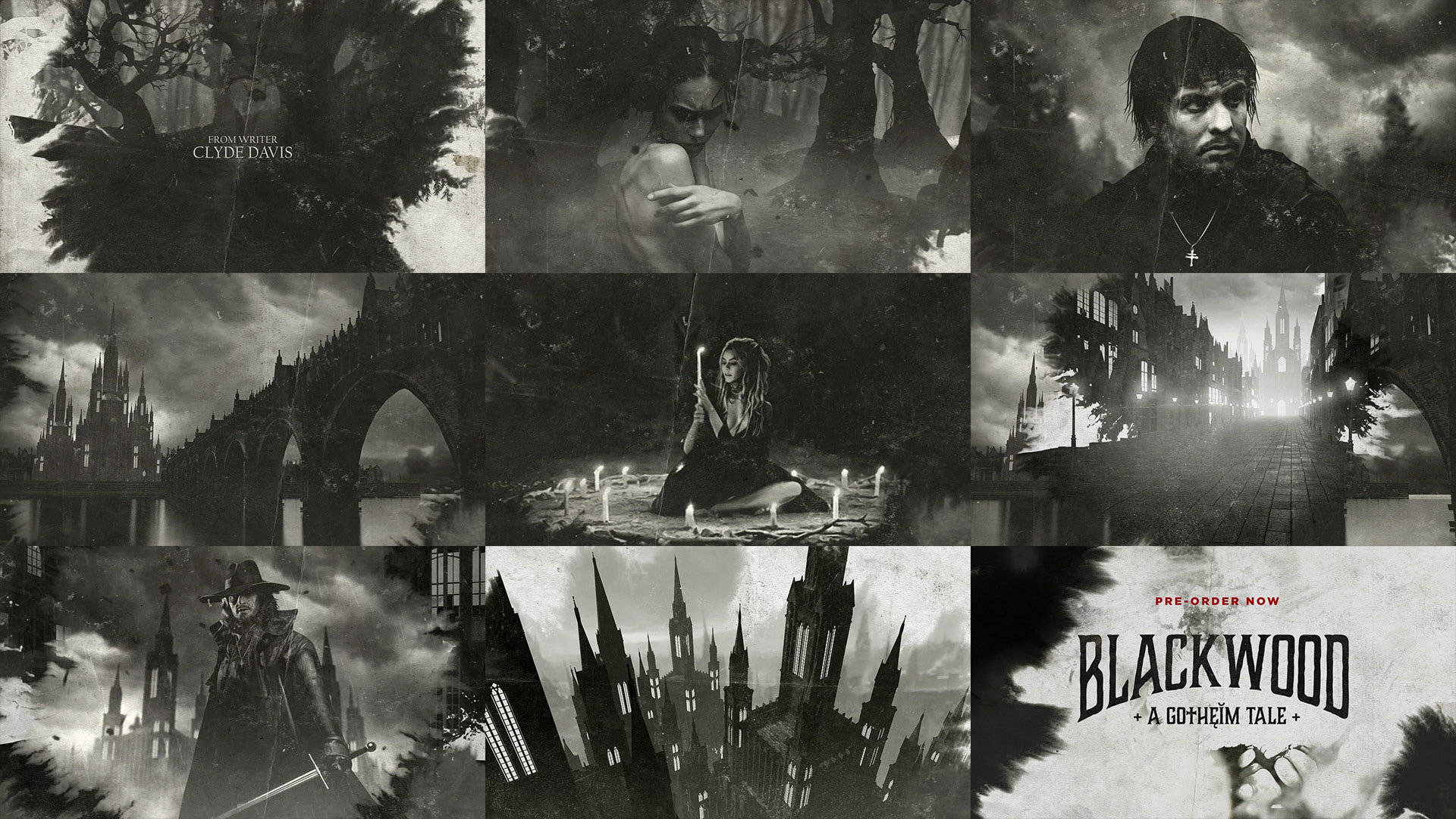 styleframes for the gothic horror Blackwood teaser video for facebook & instagram