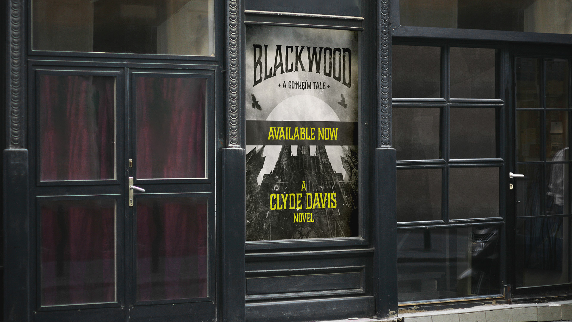 a mockup of a blackwood poster in front of an old book shop