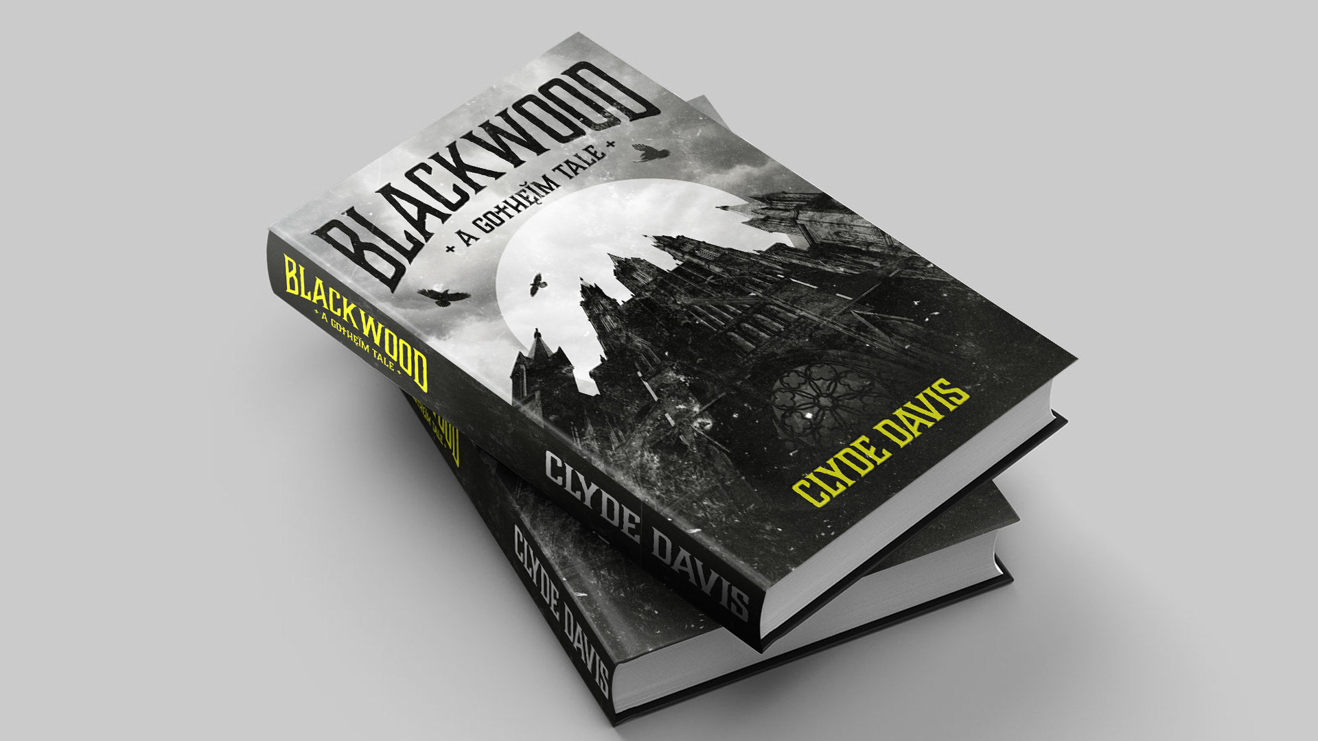 a stacked mockup of the blackwood gotheim book cover design