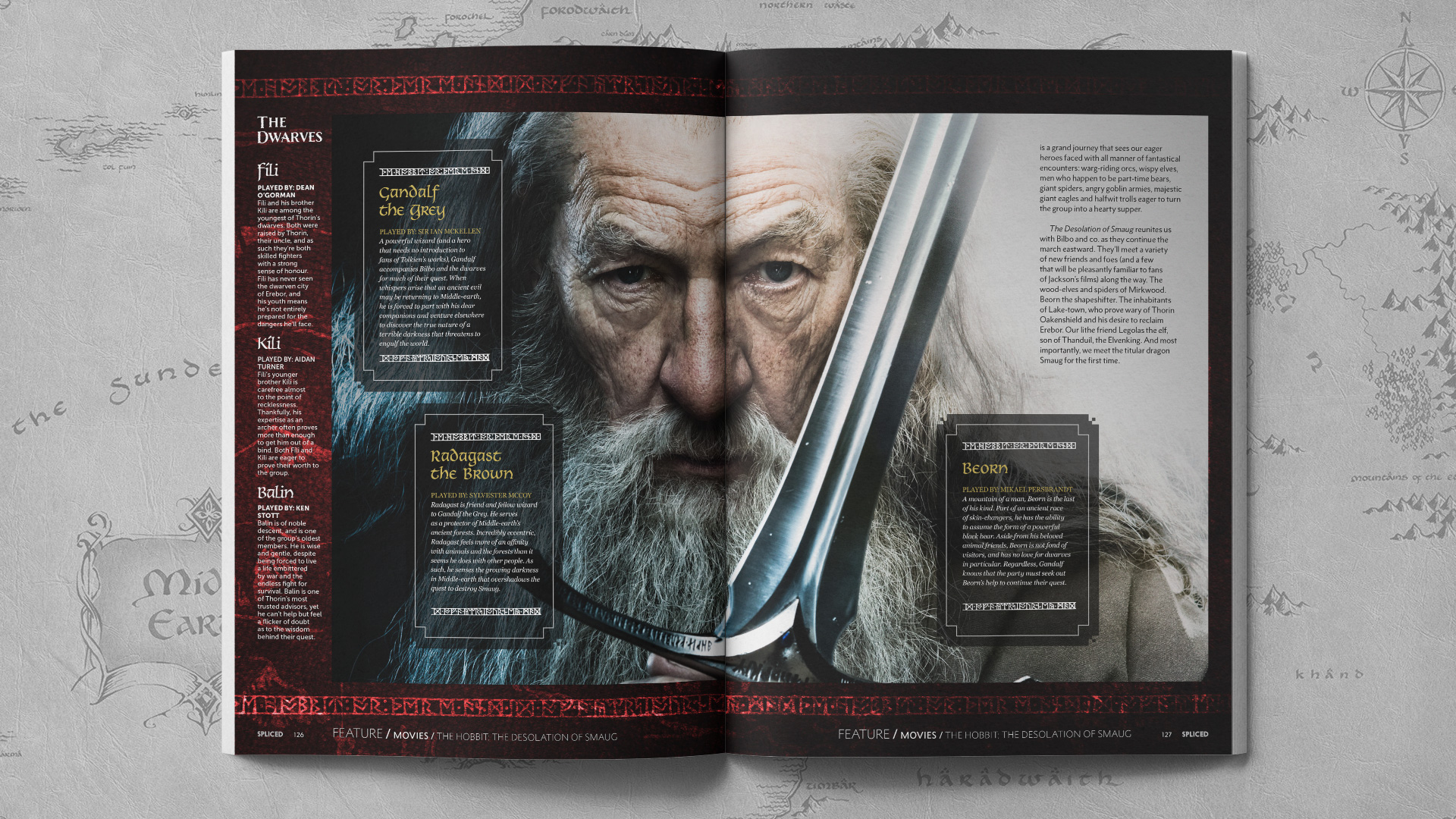 Spliced magazine layout for The Hobbit in an open magazine layout