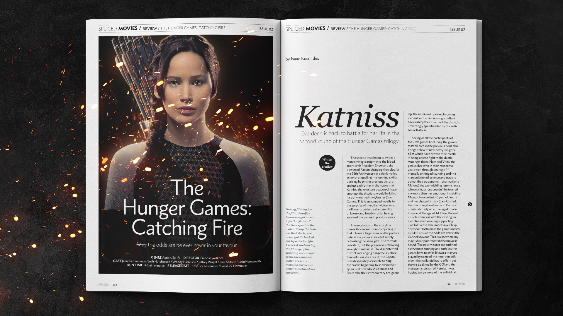 Spliced magazine layout for the Hunger Games in an open magazine layout