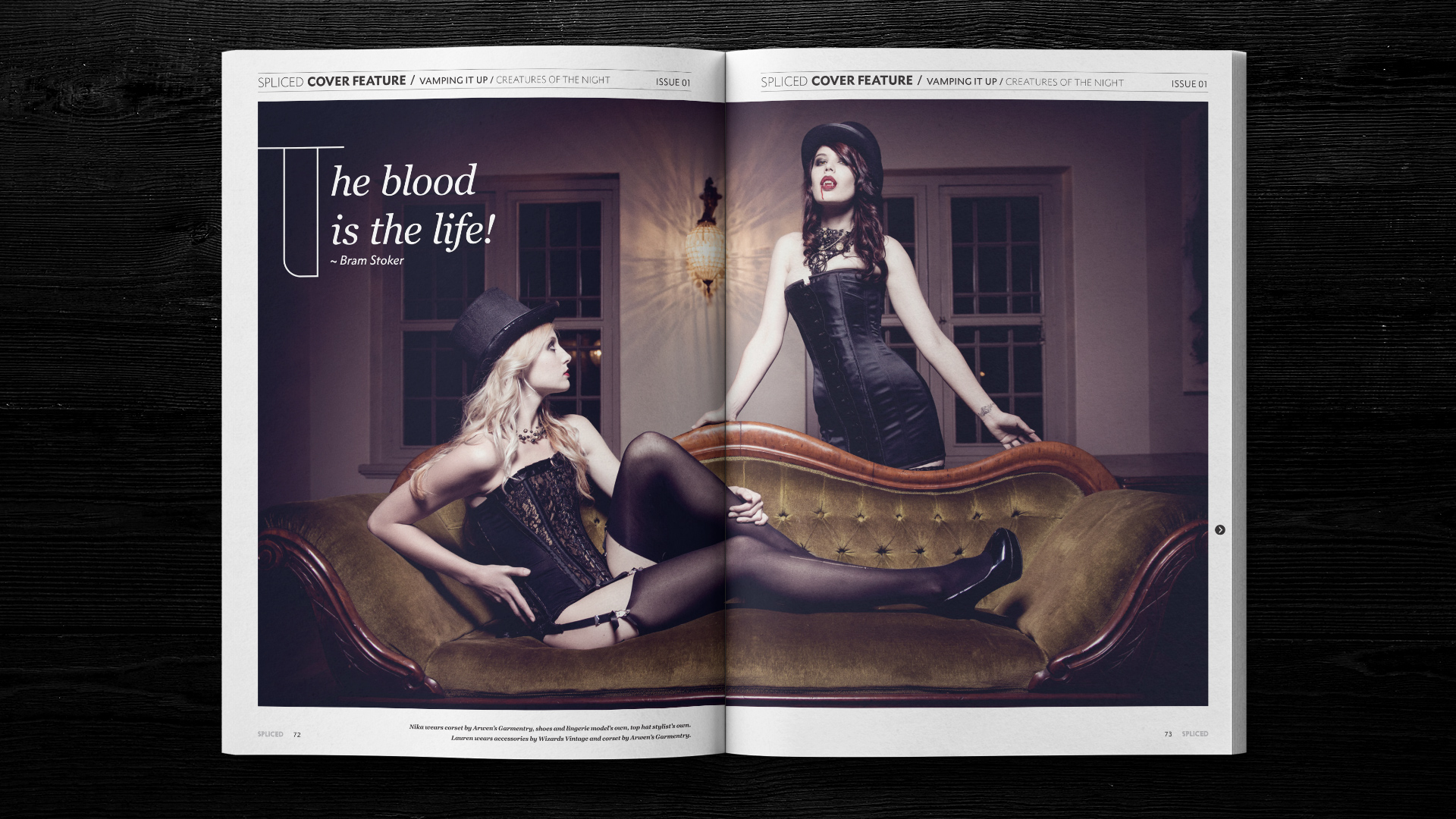 Spliced magazine layout in an open magazine layout