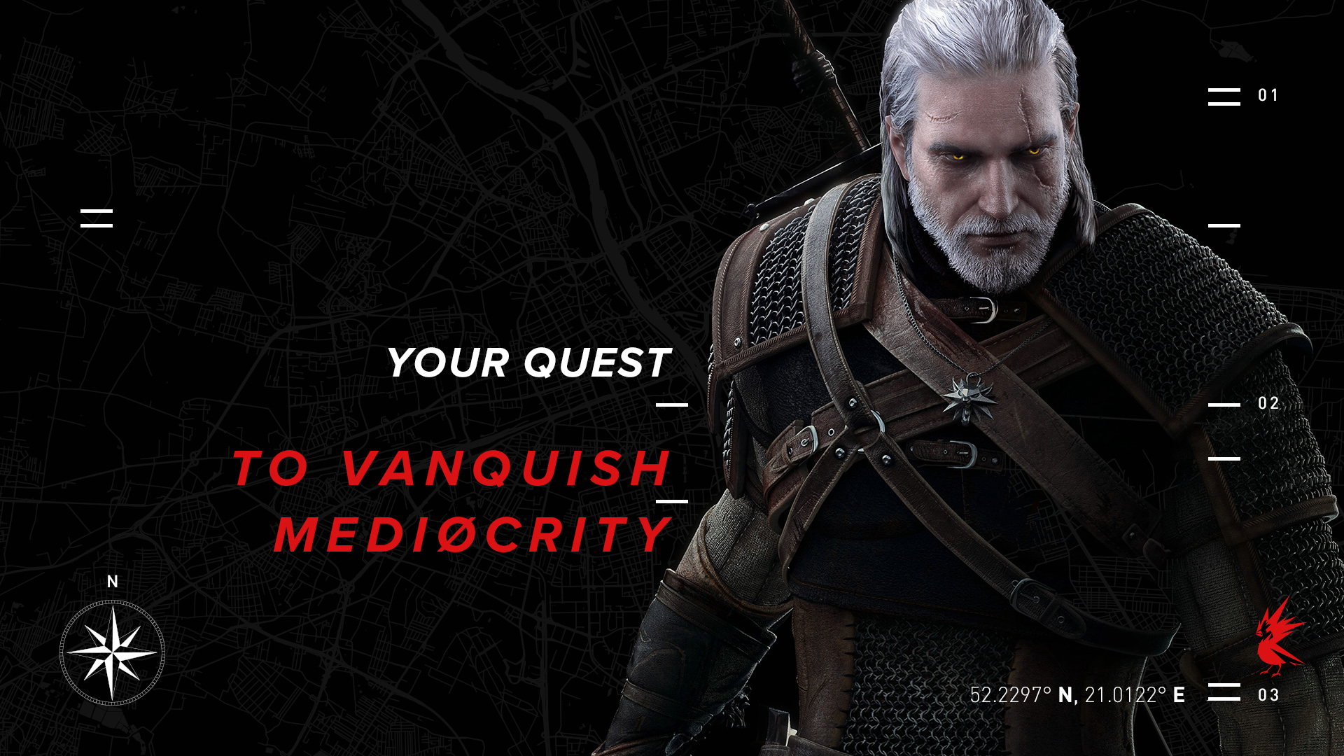 Geralt of Rivia on a black background with text