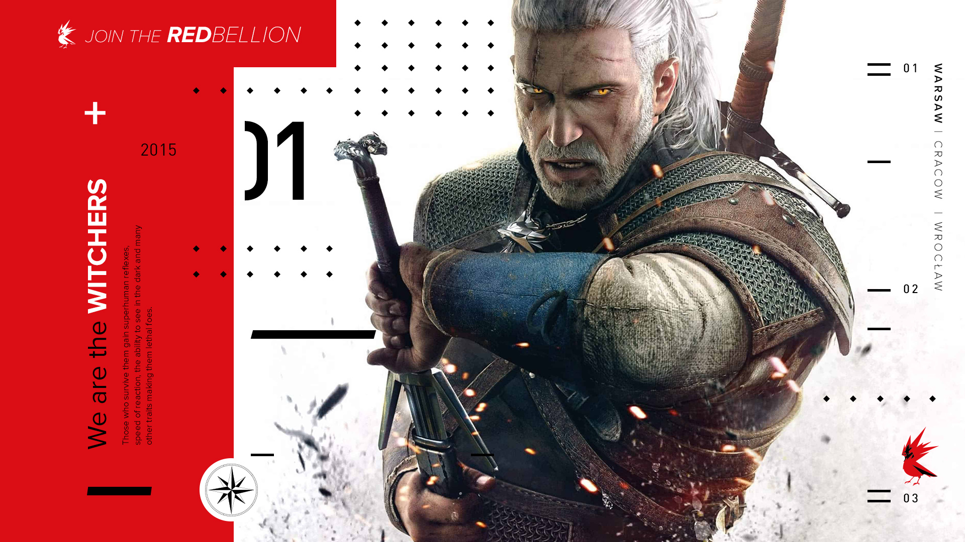 Geralt from The Witcher 3 in a design for CD Projekt Red