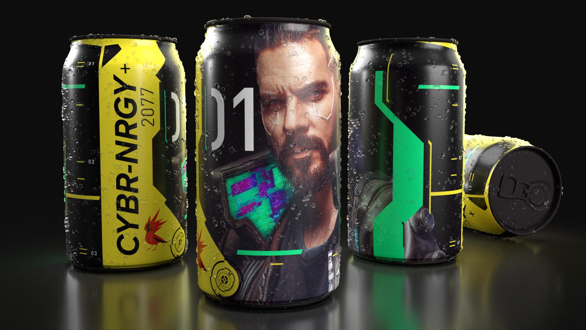 Cyberpunk 2077 energy drink cans