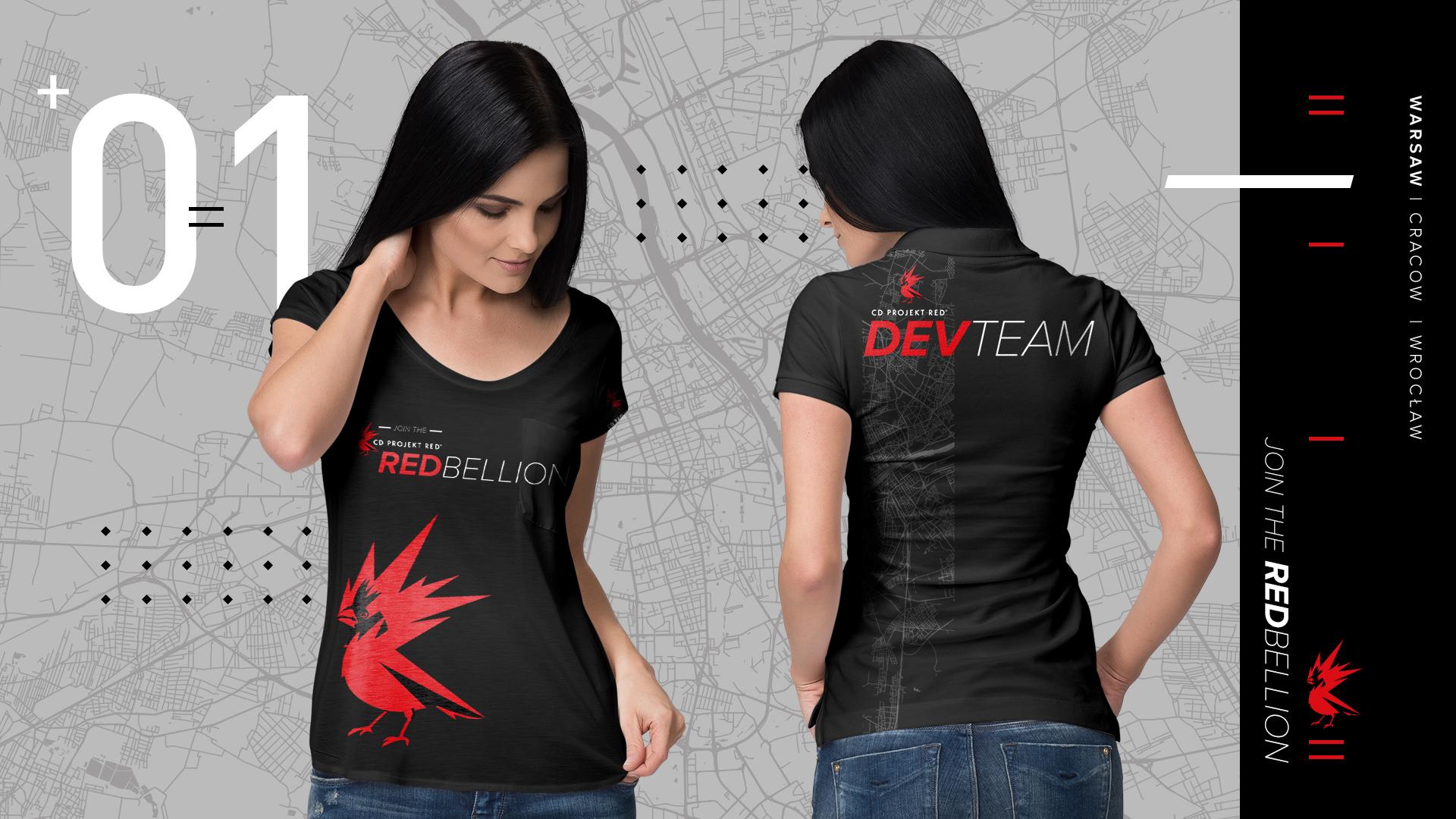 Woman wearing a CD Projekt Red black t-shirt