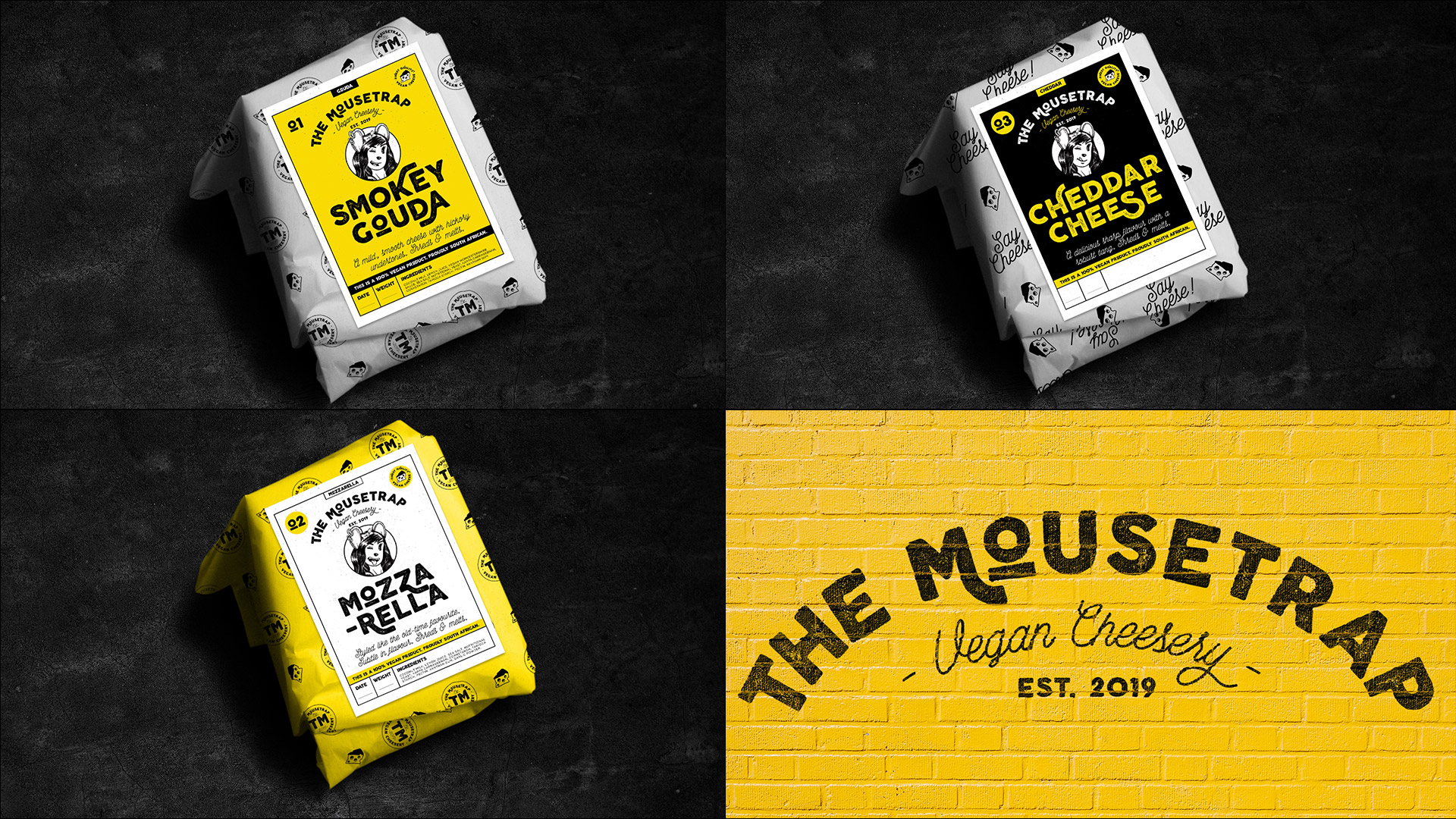 Various mousetrap cheeses wrapped in their branded packaging