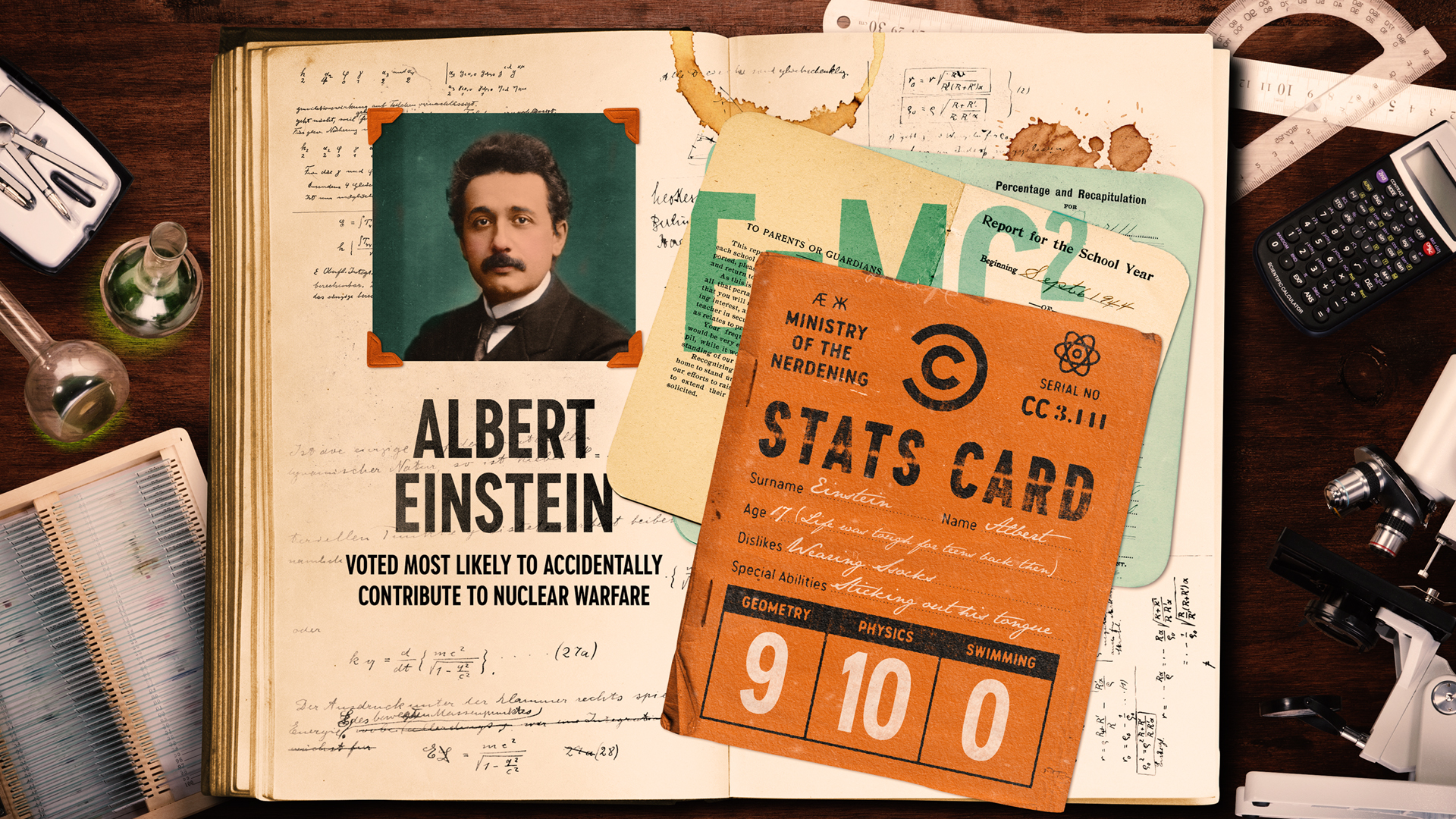 Photo of Albert Einstein in a year book for Comedy Central