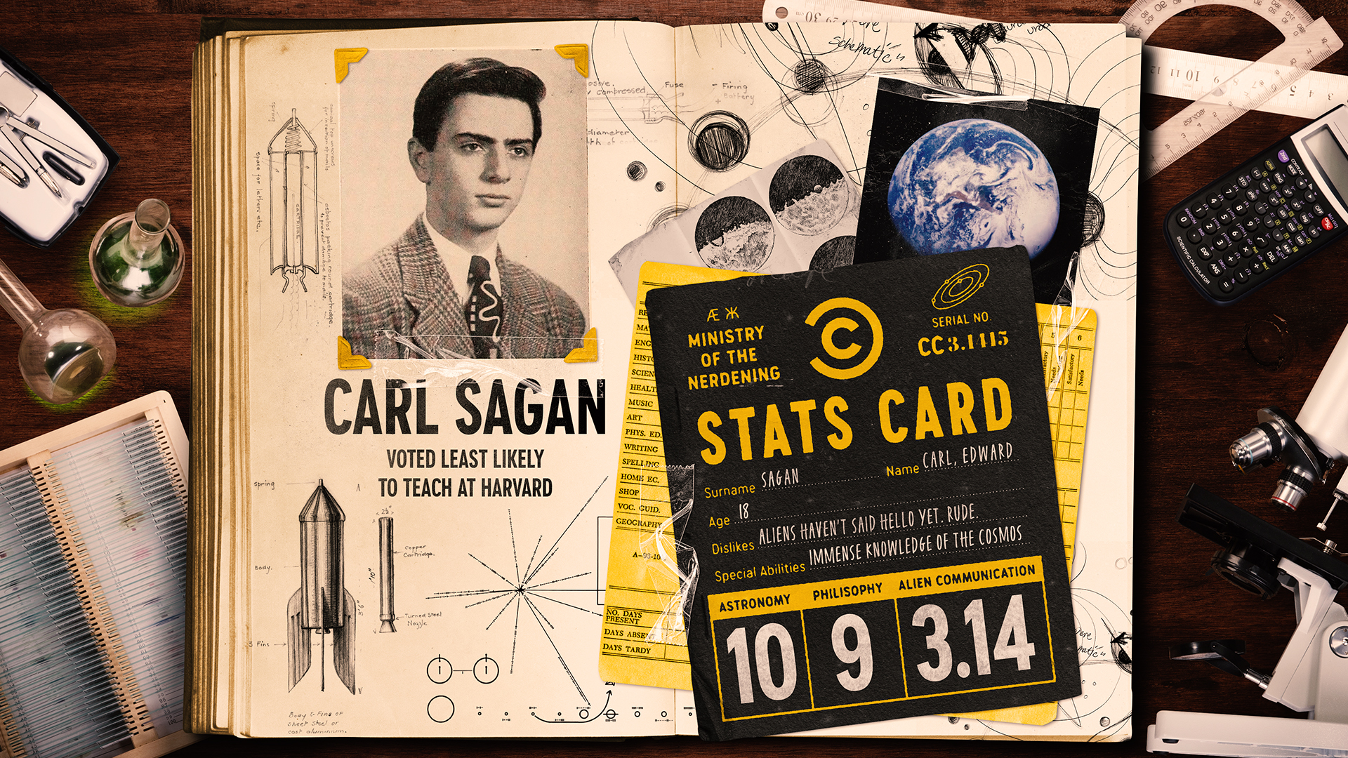 Photo of Carl Sagan in a yearbook for Comedy Central