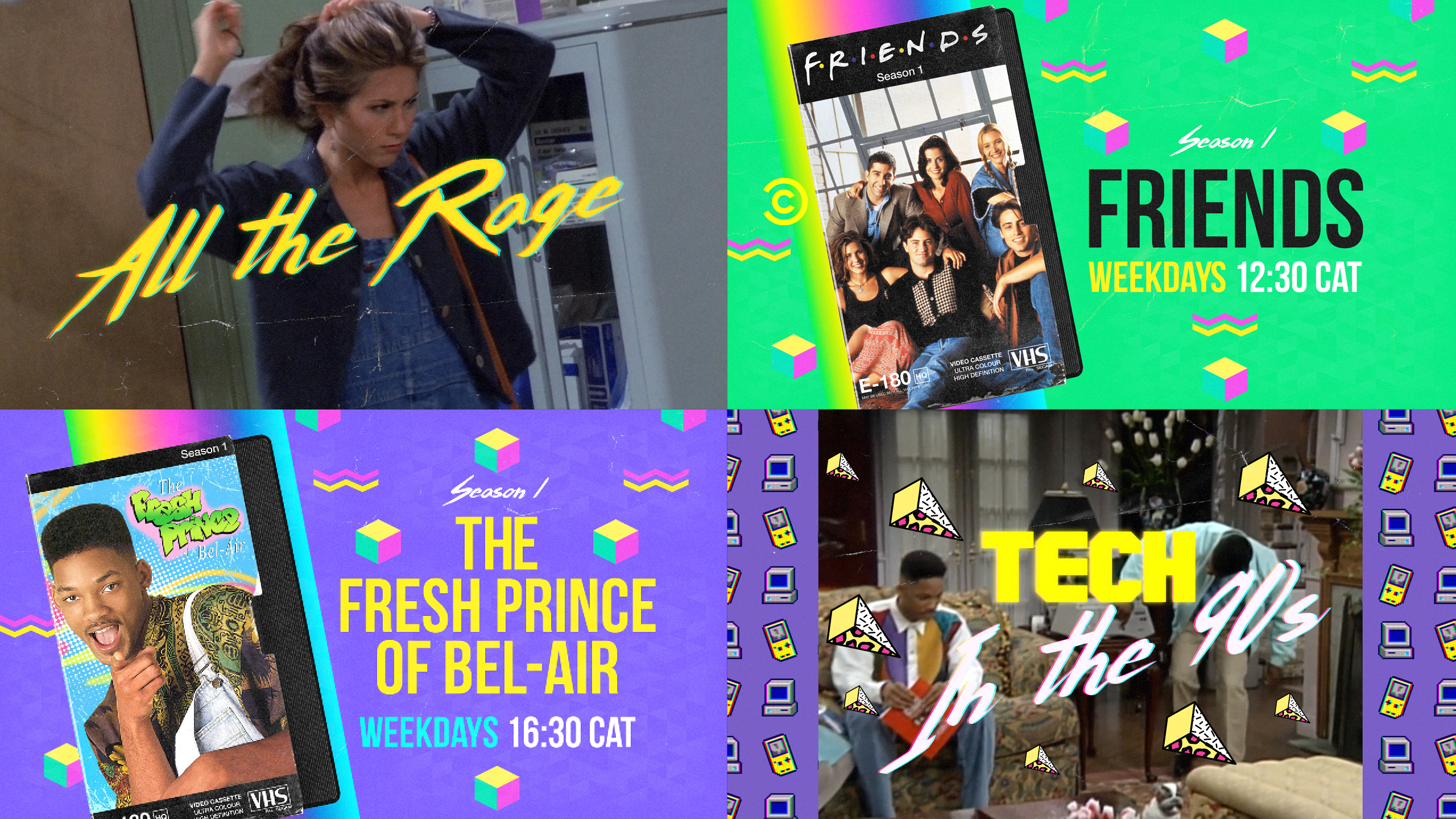 A collage of 90's retro images from Friends and the Fresh Prince of Bel Air